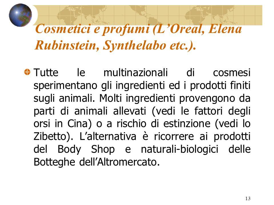 13 Cosmetici e profumi (LOreal, Elena Rubinstein, Synthelabo etc.). Tutte le multinazionali di cosmesi sperimentano gli ingredienti ed i prodotti fini