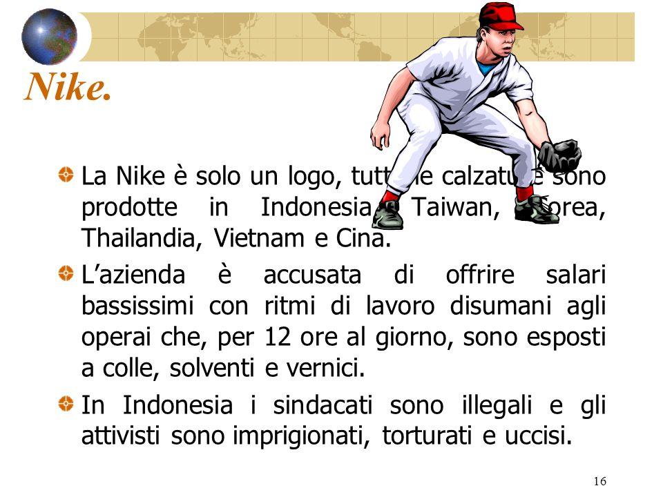 16 Nike. La Nike è solo un logo, tutte le calzature sono prodotte in Indonesia, Taiwan, Corea, Thailandia, Vietnam e Cina. Lazienda è accusata di offr