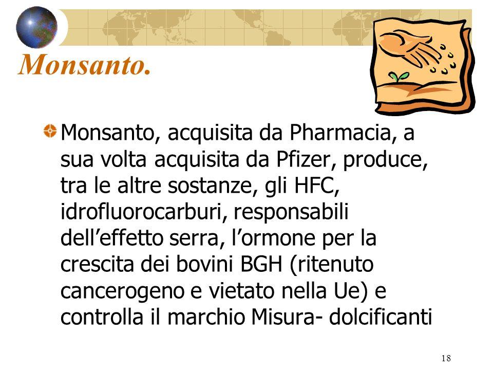 18 Monsanto. Monsanto, acquisita da Pharmacia, a sua volta acquisita da Pfizer, produce, tra le altre sostanze, gli HFC, idrofluorocarburi, responsabi