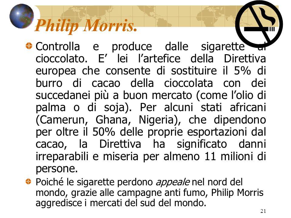 21 Philip Morris. Controlla e produce dalle sigarette al cioccolato. E lei lartefice della Direttiva europea che consente di sostituire il 5% di burro