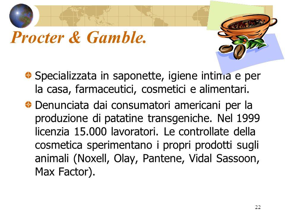 22 Procter & Gamble. Specializzata in saponette, igiene intima e per la casa, farmaceutici, cosmetici e alimentari. Denunciata dai consumatori america