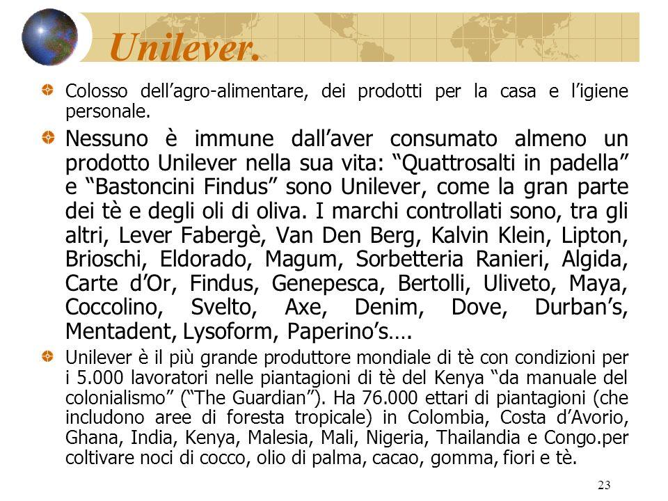 23 Unilever. Colosso dellagro-alimentare, dei prodotti per la casa e ligiene personale. Nessuno è immune dallaver consumato almeno un prodotto Unileve