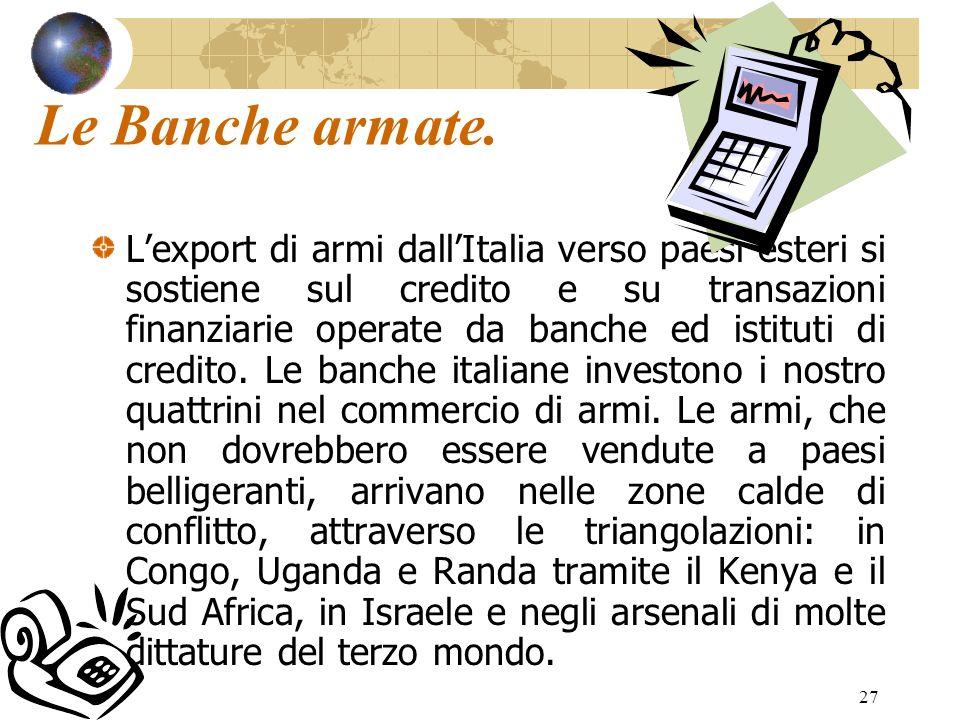 27 Le Banche armate. Lexport di armi dallItalia verso paesi esteri si sostiene sul credito e su transazioni finanziarie operate da banche ed istituti