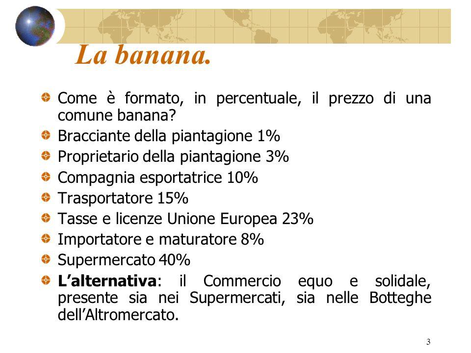 3 La banana. Come è formato, in percentuale, il prezzo di una comune banana? Bracciante della piantagione 1% Proprietario della piantagione 3% Compagn