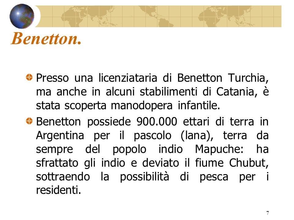 7 Benetton. Presso una licenziataria di Benetton Turchia, ma anche in alcuni stabilimenti di Catania, è stata scoperta manodopera infantile. Benetton