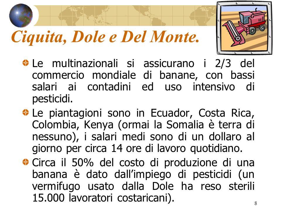 8 Ciquita, Dole e Del Monte. Le multinazionali si assicurano i 2/3 del commercio mondiale di banane, con bassi salari ai contadini ed uso intensivo di