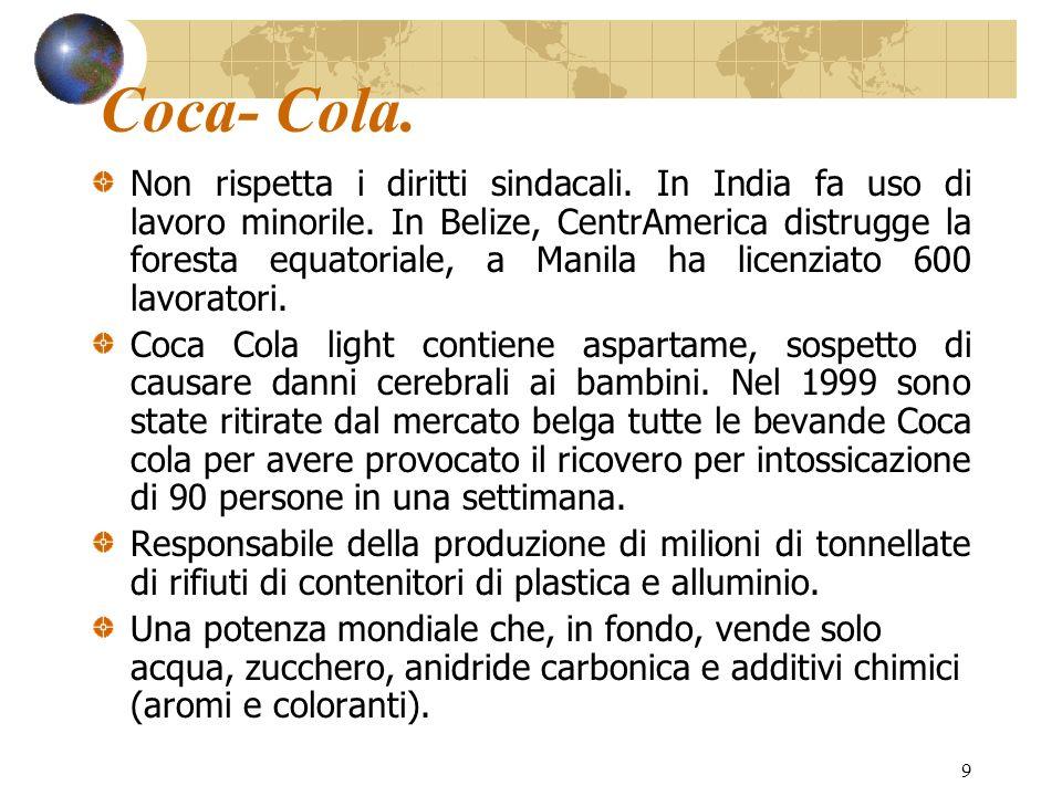 9 Coca- Cola. Non rispetta i diritti sindacali. In India fa uso di lavoro minorile. In Belize, CentrAmerica distrugge la foresta equatoriale, a Manila