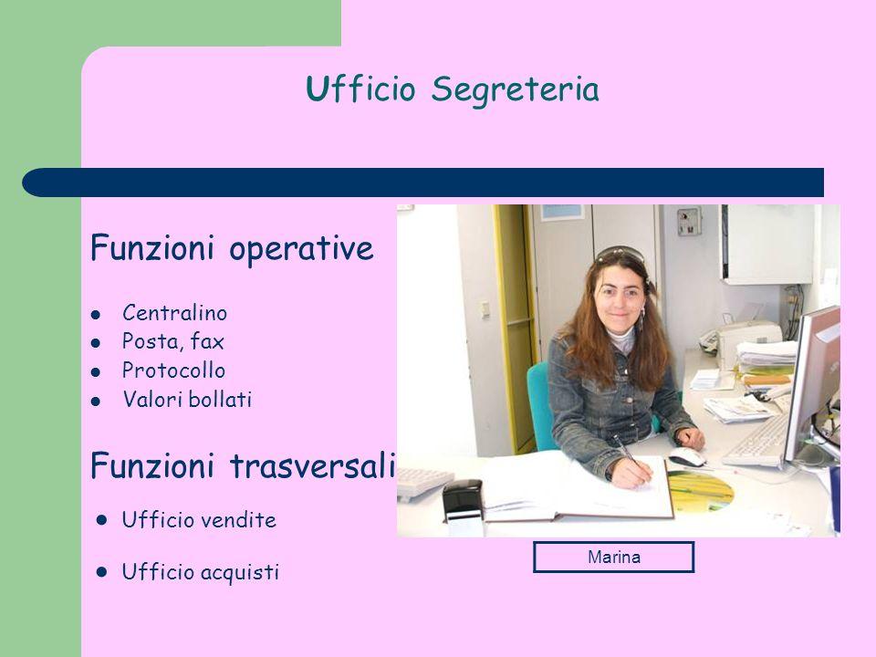 Ufficio Segreteria Funzioni operative Centralino Posta, fax Protocollo Valori bollati Funzioni trasversali Ufficio vendite Ufficio acquisti Marina