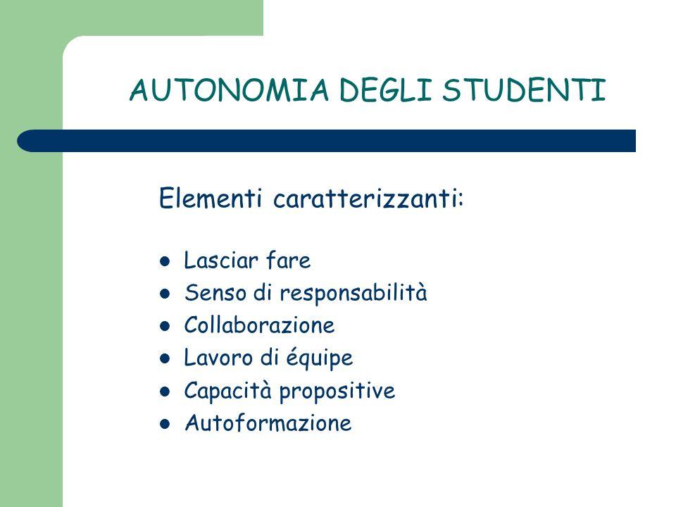 AUTONOMIA DEGLI STUDENTI Elementi caratterizzanti: Lasciar fare Senso di responsabilità Collaborazione Lavoro di équipe Capacità propositive Autoforma