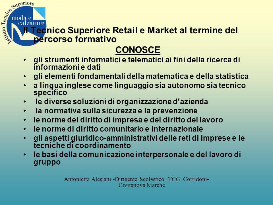 Il Tecnico Superiore Retail e Market al termine del percorso formativo CONOSCE gli strumenti informatici e telematici ai fini della ricerca di informa