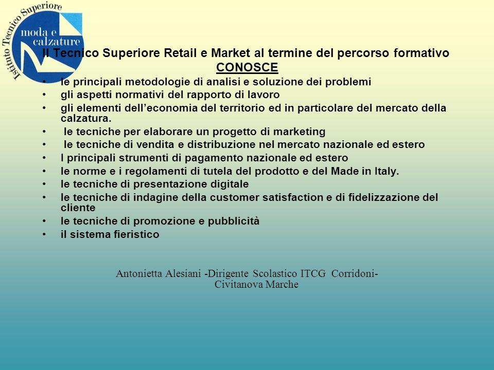 Il Tecnico Superiore Retail e Market al termine del percorso formativo CONOSCE le principali metodologie di analisi e soluzione dei problemi gli aspet