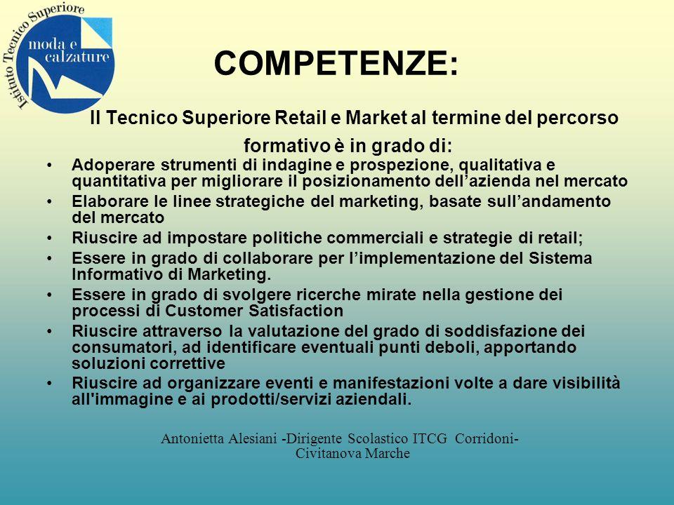 COMPETENZE: Il Tecnico Superiore Retail e Market al termine del percorso formativo è in grado di: Adoperare strumenti di indagine e prospezione, quali