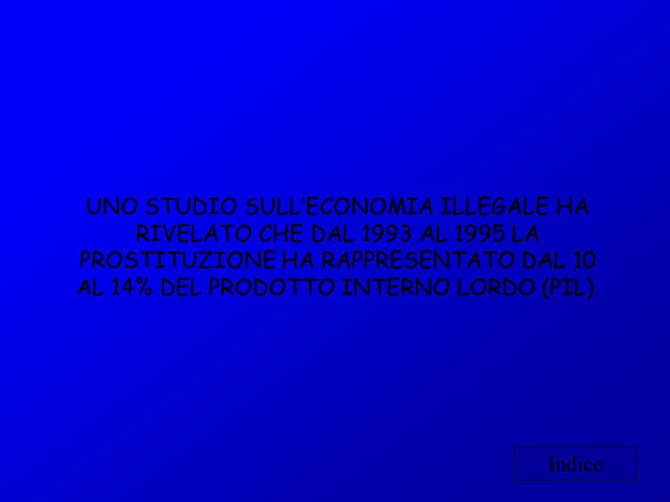 UNO STUDIO SULLECONOMIA ILLEGALE HA RIVELATO CHE DAL 1993 AL 1995 LA PROSTITUZIONE HA RAPPRESENTATO DAL 10 AL 14% DEL PRODOTTO INTERNO LORDO (PIL). In