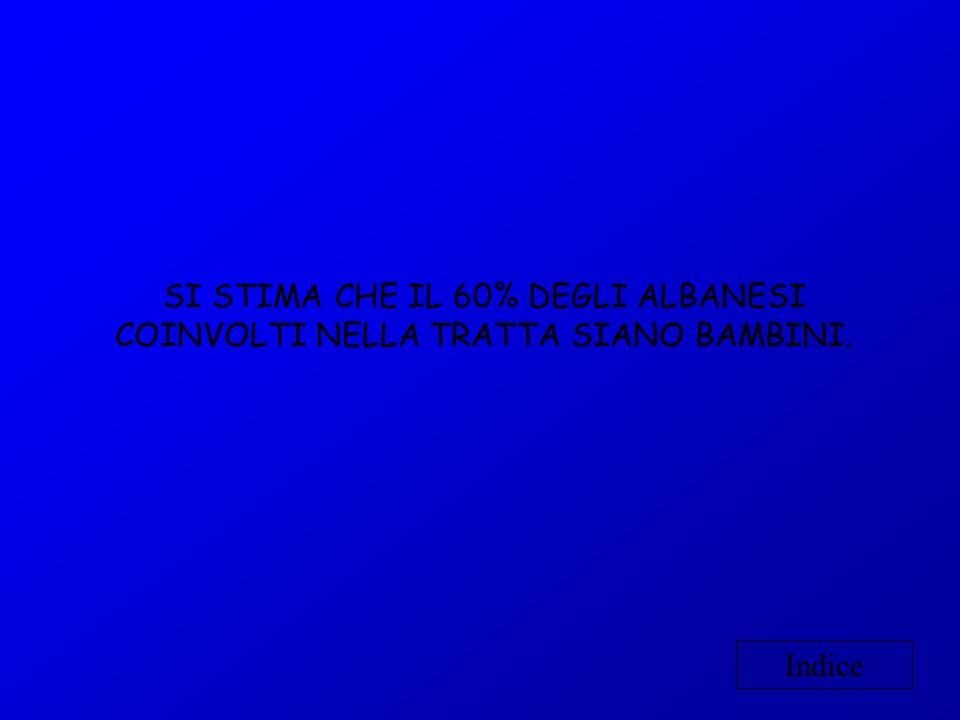SI STIMA CHE IL 60% DEGLI ALBANESI COINVOLTI NELLA TRATTA SIANO BAMBINI. Indice