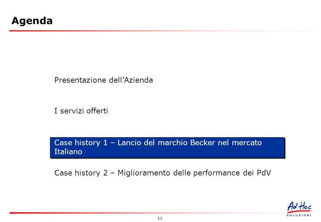 11 Agenda Presentazione dellAzienda I servizi offerti Case history 1 – Lancio del marchio Becker nel mercato Italiano Case history 2 – Miglioramento delle performance dei PdV