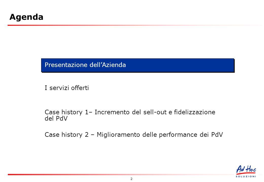 2 Agenda Presentazione dellAzienda I servizi offerti Case history 1– Incremento del sell-out e fidelizzazione del PdV Case history 2 – Miglioramento delle performance dei PdV