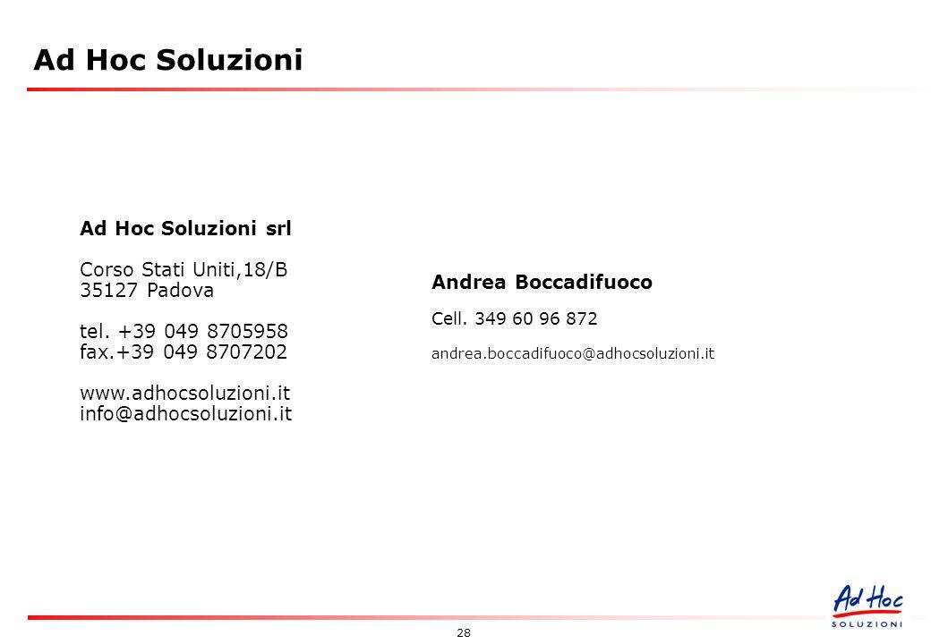 28 Ad Hoc Soluzioni srl Corso Stati Uniti,18/B 35127 Padova tel.