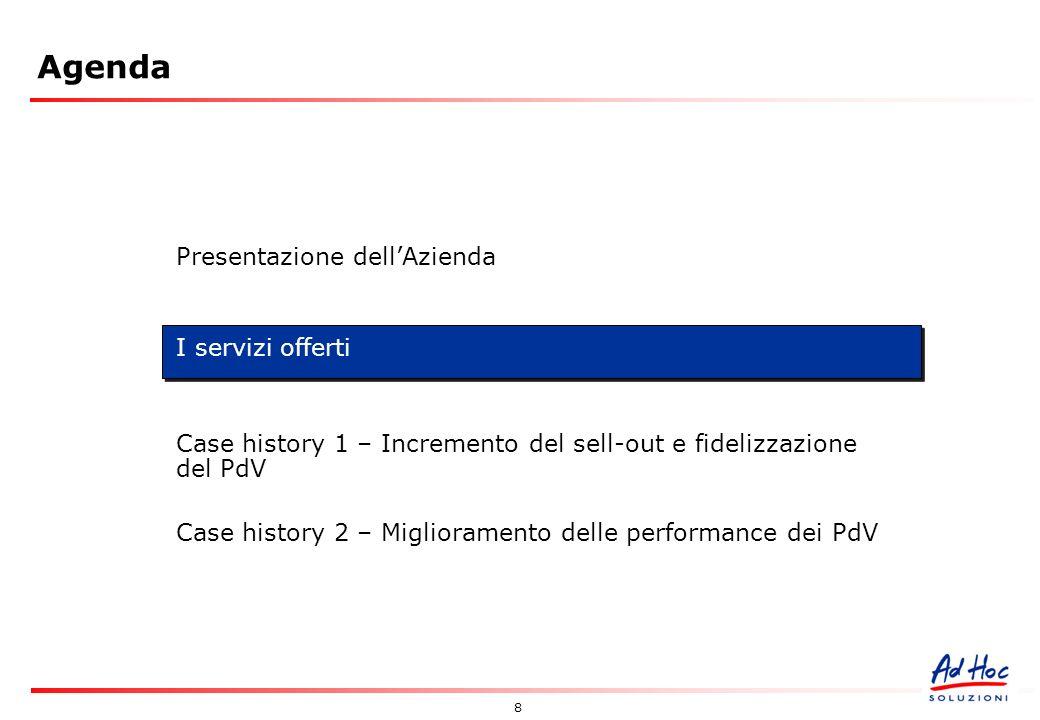 8 Agenda Presentazione dellAzienda I servizi offerti Case history 1 – Incremento del sell-out e fidelizzazione del PdV Case history 2 – Miglioramento delle performance dei PdV