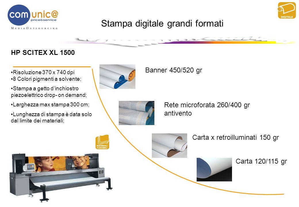 HP SCITEX XL 1500 Risoluzione 370 x 740 dpi 8 Colori pigmenti a solvente; Stampa a getto dinchiostro piezoelettrico drop- on demand; Larghezza max sta