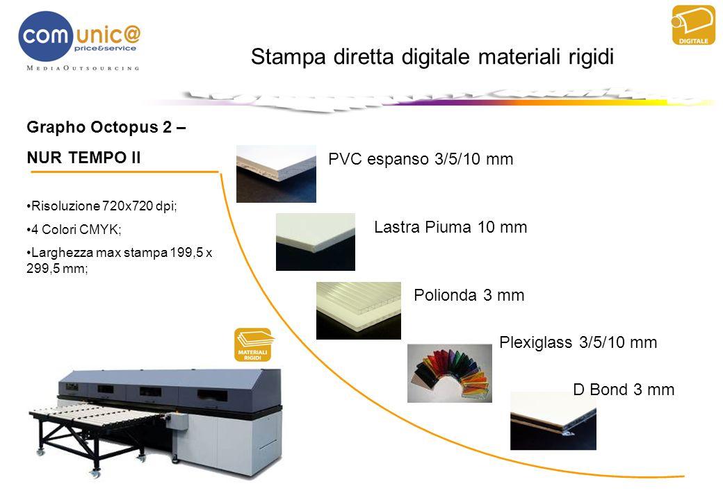 Grapho Octopus 2 – NUR TEMPO II Risoluzione 720x720 dpi; 4 Colori CMYK; Larghezza max stampa 199,5 x 299,5 mm; Stampa diretta digitale materiali rigid