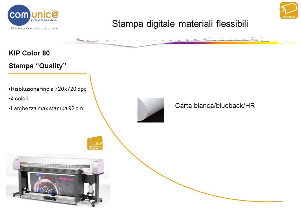 KIP Color 80 Stampa Quality Risoluzione fino a 720x720 dpi; 4 colori Larghezza max stampa 92 cm; Stampa digitale materiali flessibili Carta bianca/blu