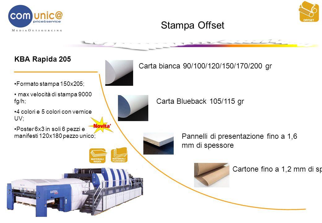 Stampa Offset Carta bianca 90/100/120/150/170/200 gr Carta Blueback 105/115 gr KBA Rapida 205 Formato stampa 150x205; max velocità di stampa 9000 fg/h