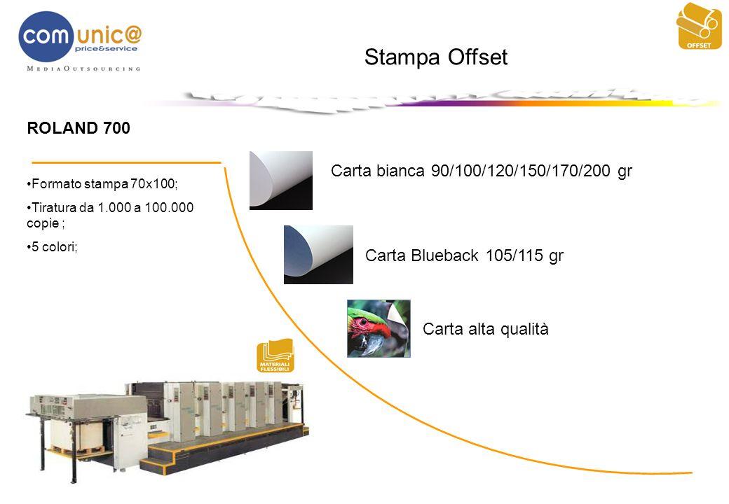 Stampa Offset ROLAND 700 Formato stampa 70x100; Tiratura da 1.000 a 100.000 copie ; 5 colori; Carta bianca 90/100/120/150/170/200 gr Carta Blueback 10