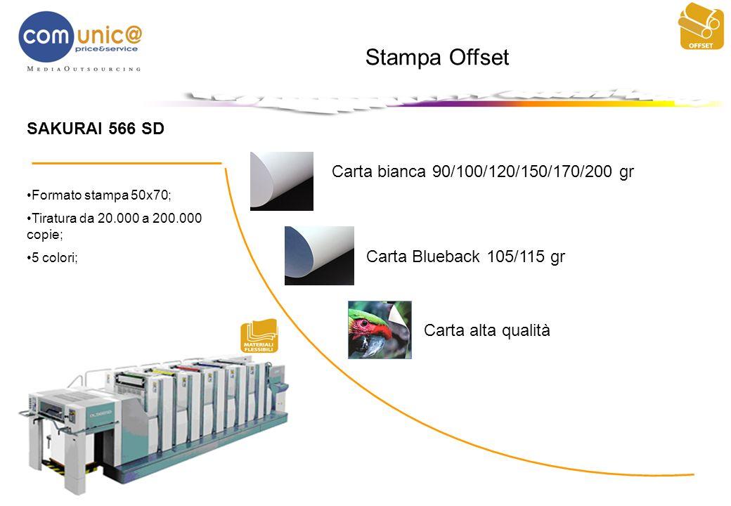 Stampa Offset SAKURAI 566 SD Formato stampa 50x70; Tiratura da 20.000 a 200.000 copie; 5 colori; Carta bianca 90/100/120/150/170/200 gr Carta Blueback