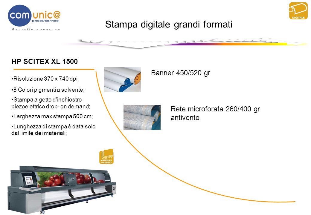 Stampa digitale grandi formati HP SCITEX XL 1500 Risoluzione 370 x 740 dpi; 8 Colori pigmenti a solvente; Stampa a getto dinchiostro piezoelettrico dr