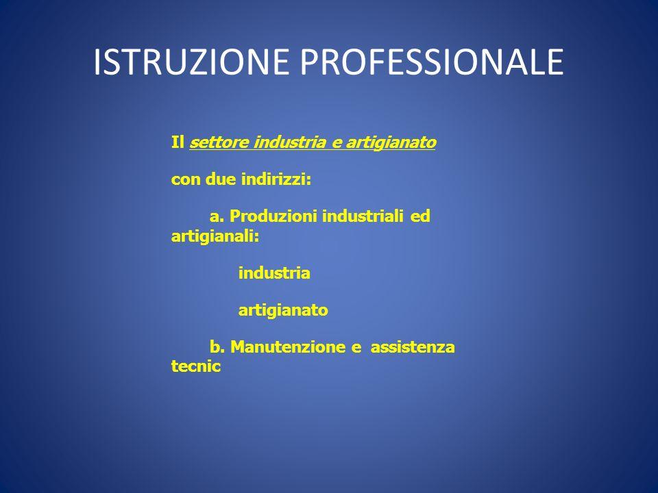 ISTRUZIONE PROFESSIONALE Il settore industria e artigianato con due indirizzi: a. Produzioni industriali ed artigianali: industria artigianato b. Manu