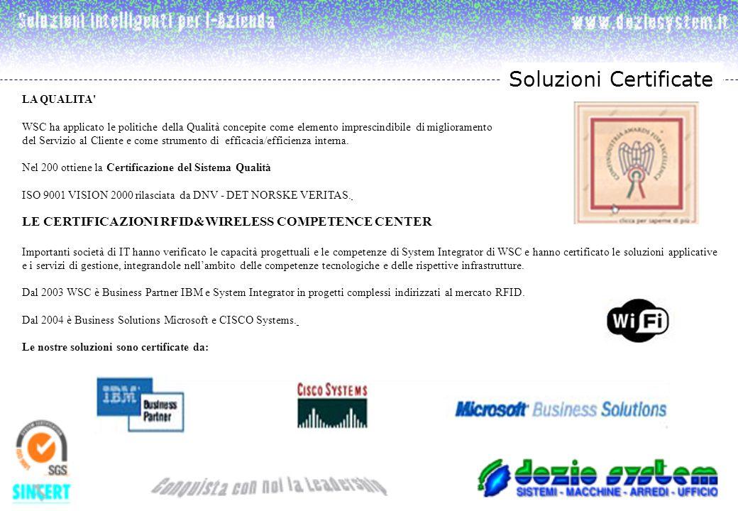 Soluzioni Certificate LA QUALITA WSC ha applicato le politiche della Qualità concepite come elemento imprescindibile di miglioramento del Servizio al Cliente e come strumento di efficacia/efficienza interna.