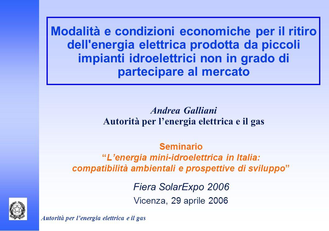 Autorità per lenergia elettrica e il gas Modalità e condizioni economiche per il ritiro dell'energia elettrica prodotta da piccoli impianti idroelettr
