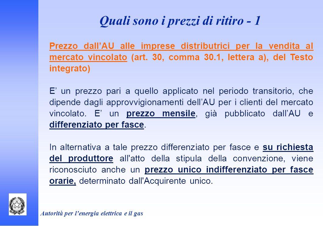 Autorità per lenergia elettrica e il gas Prezzo dallAU alle imprese distributrici per la vendita al mercato vincolato (art. 30, comma 30.1, lettera a)