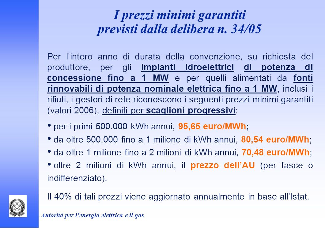 Autorità per lenergia elettrica e il gas I prezzi minimi garantiti previsti dalla delibera n. 34/05 Per lintero anno di durata della convenzione, su r