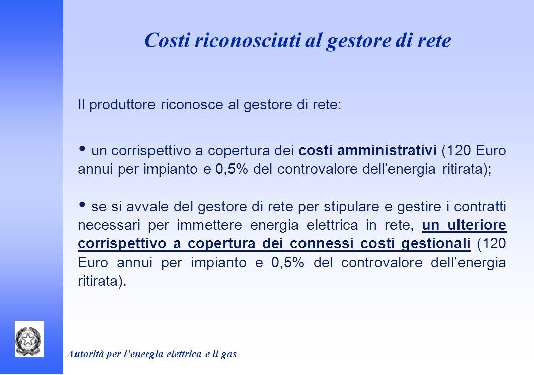 Costi riconosciuti al gestore di rete Il produttore riconosce al gestore di rete: un corrispettivo a copertura dei costi amministrativi (120 Euro annu