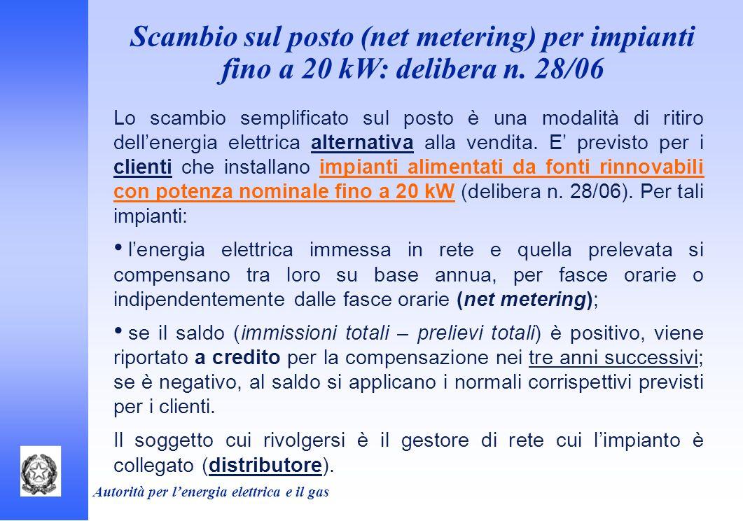 Scambio sul posto (net metering) per impianti fino a 20 kW: delibera n. 28/06 Lo scambio semplificato sul posto è una modalità di ritiro dellenergia e