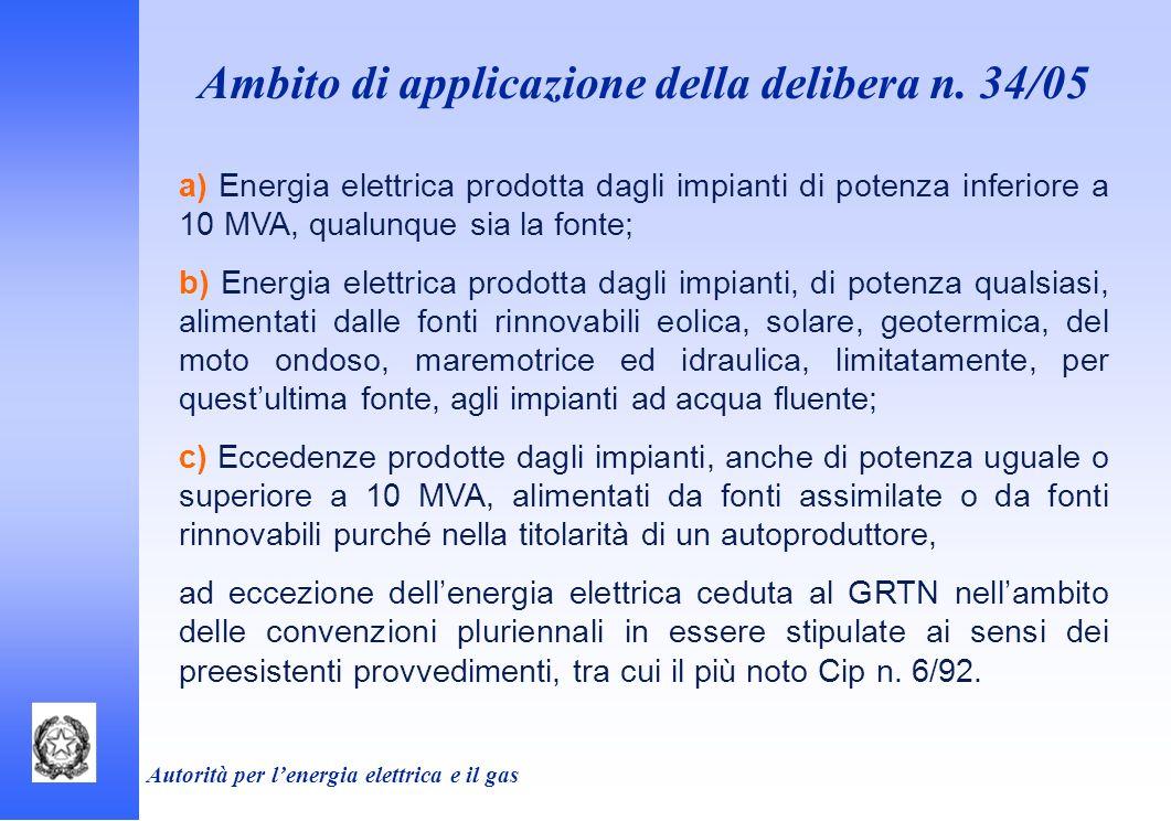 Autorità per lenergia elettrica e il gas Ambito di applicazione della delibera n. 34/05 a) Energia elettrica prodotta dagli impianti di potenza inferi