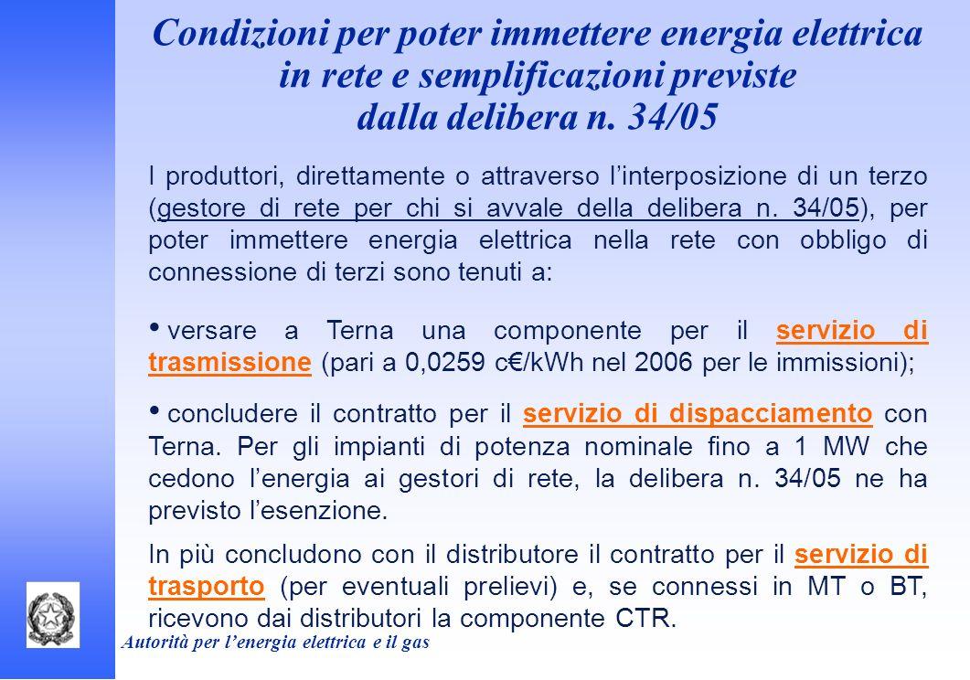 Autorità per lenergia elettrica e il gas Condizioni per poter immettere energia elettrica in rete e semplificazioni previste dalla delibera n. 34/05 I