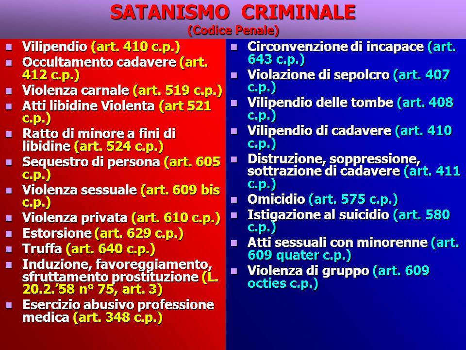 SATANISMO CRIMINALE (Codice Penale) Vilipendio (art.