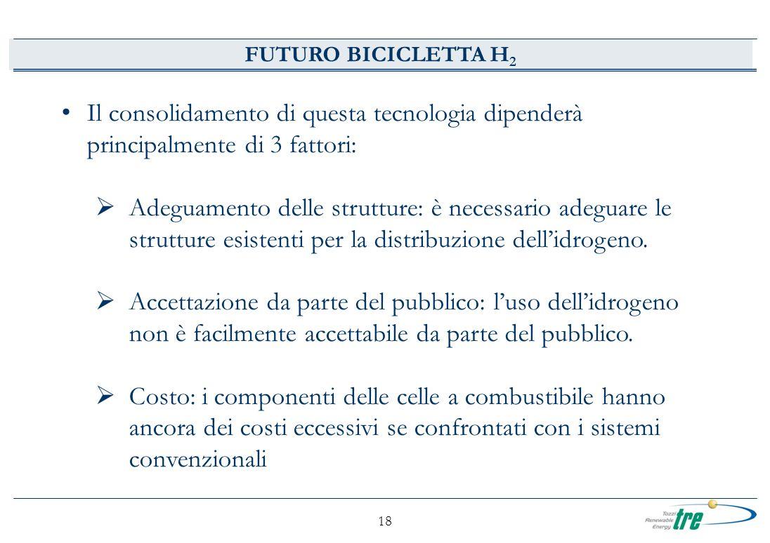 18 FUTURO BICICLETTA H 2 Il consolidamento di questa tecnologia dipenderà principalmente di 3 fattori: Adeguamento delle strutture: è necessario adegu