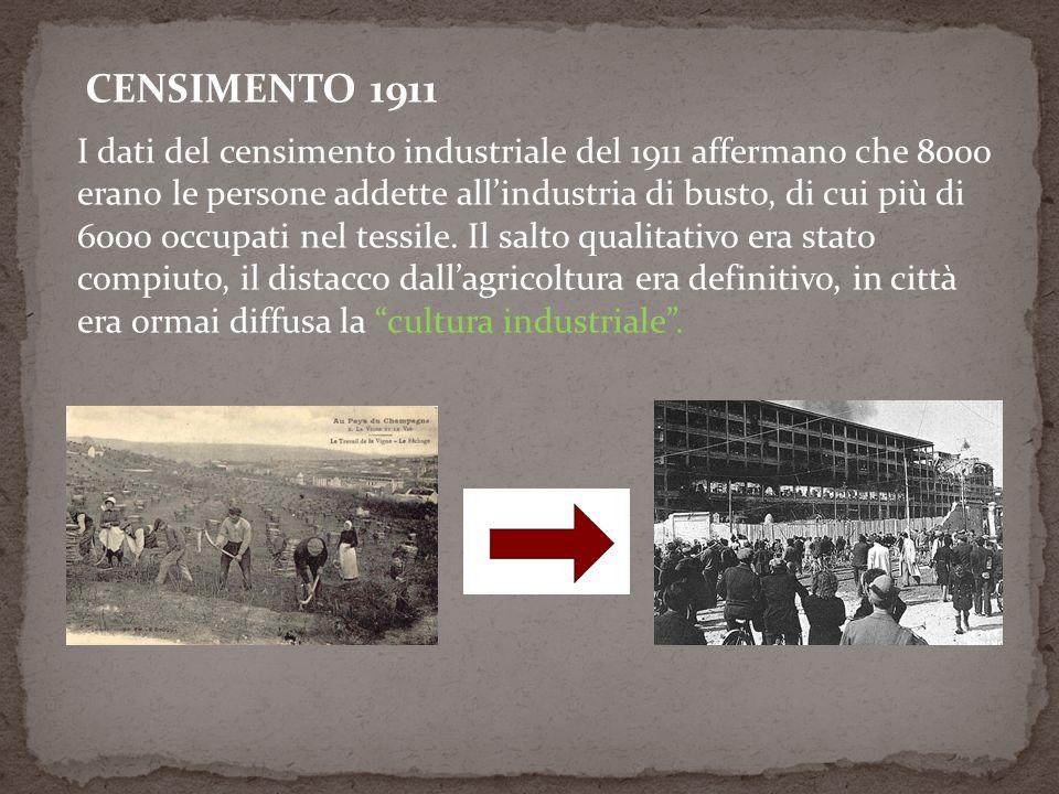 CENSIMENTO 1911 I dati del censimento industriale del 1911 affermano che 8000 erano le persone addette allindustria di busto, di cui più di 6000 occupati nel tessile.