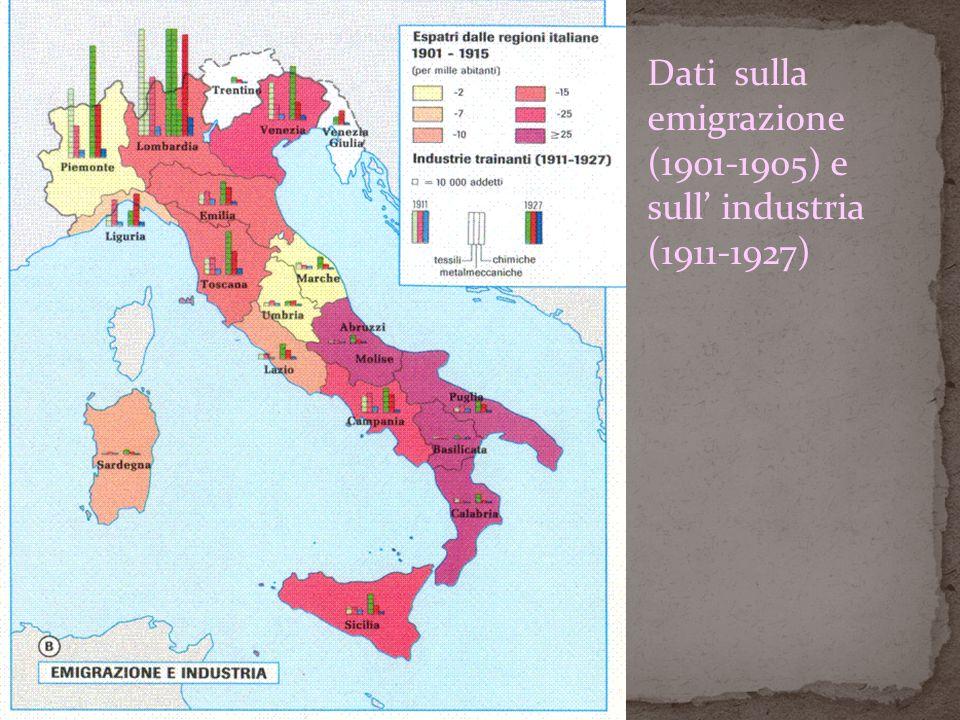 Dati sulla emigrazione (1901-1905) e sull industria (1911-1927)