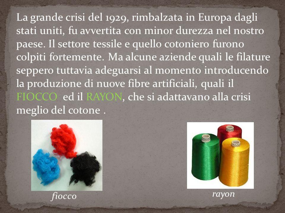 La grande crisi del 1929, rimbalzata in Europa dagli stati uniti, fu avvertita con minor durezza nel nostro paese. Il settore tessile e quello cotonie