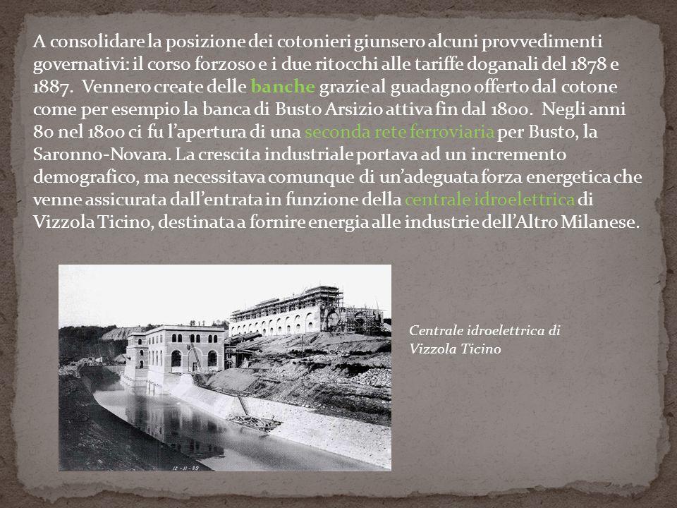 A consolidare la posizione dei cotonieri giunsero alcuni provvedimenti governativi: il corso forzoso e i due ritocchi alle tariffe doganali del 1878 e