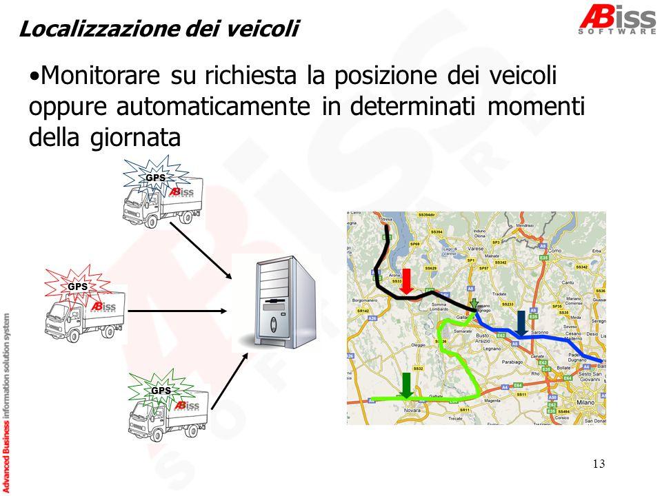13 Localizzazione dei veicoli GPS Monitorare su richiesta la posizione dei veicoli oppure automaticamente in determinati momenti della giornata