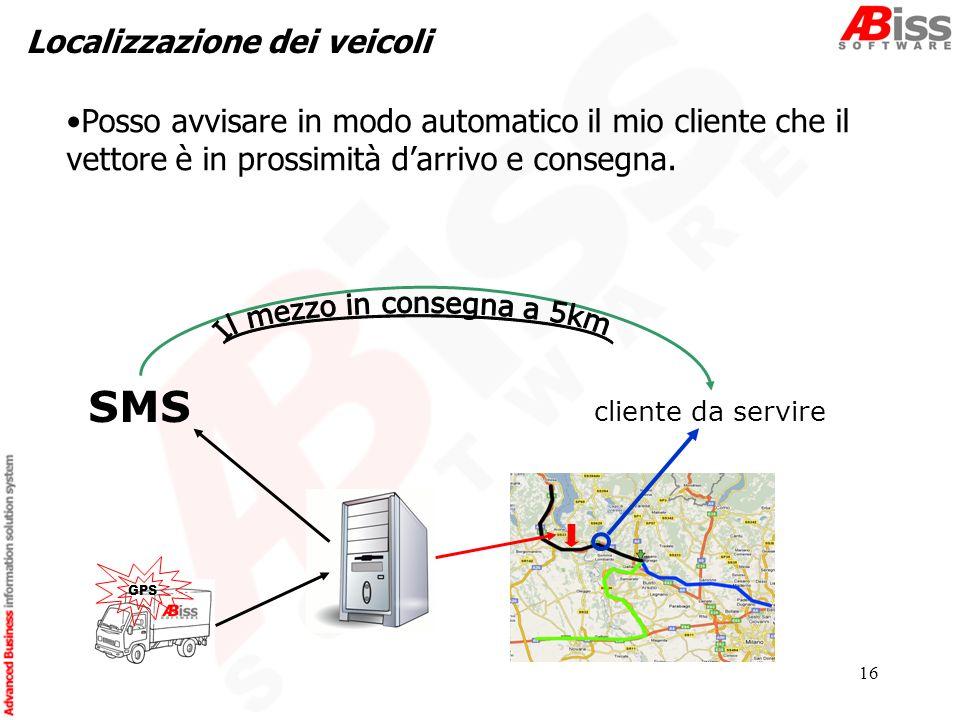 16 Localizzazione dei veicoli GPS cliente da servire SMS Posso avvisare in modo automatico il mio cliente che il vettore è in prossimità darrivo e consegna.