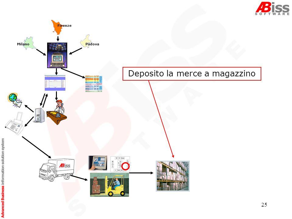 25 Padova Deposito la merce a magazzino Firenze Milano