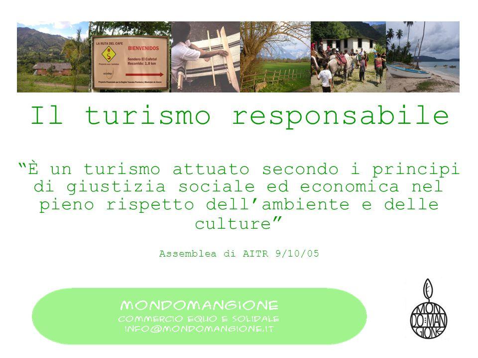 Il turismo responsabile È un turismo attuato secondo i principi di giustizia sociale ed economica nel pieno rispetto dellambiente e delle culture Asse