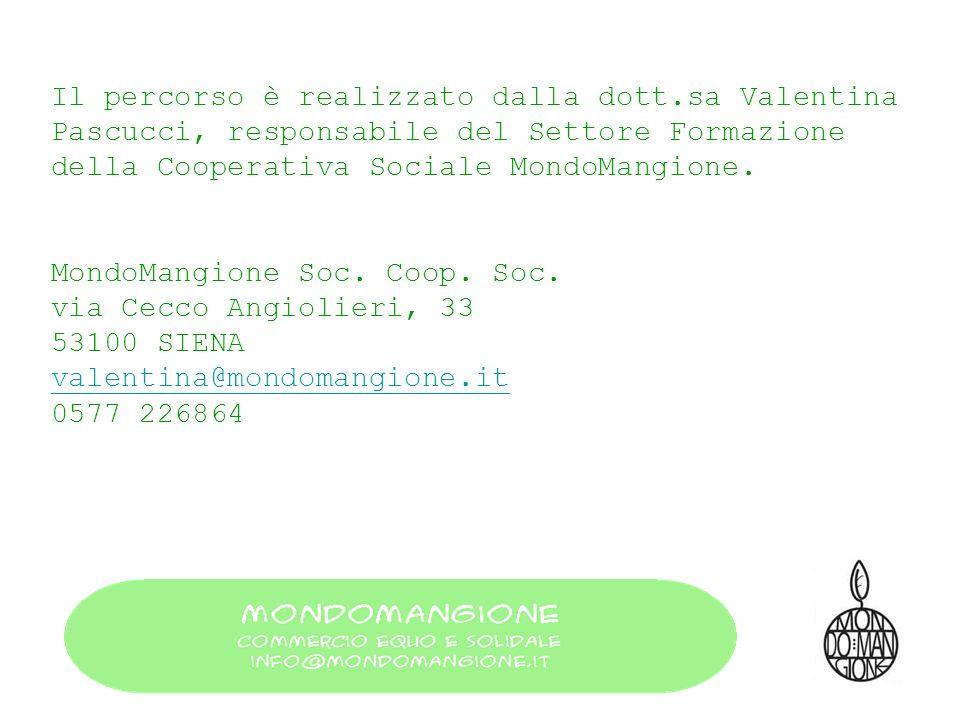 Il percorso è realizzato dalla dott.sa Valentina Pascucci, responsabile del Settore Formazione della Cooperativa Sociale MondoMangione. MondoMangione