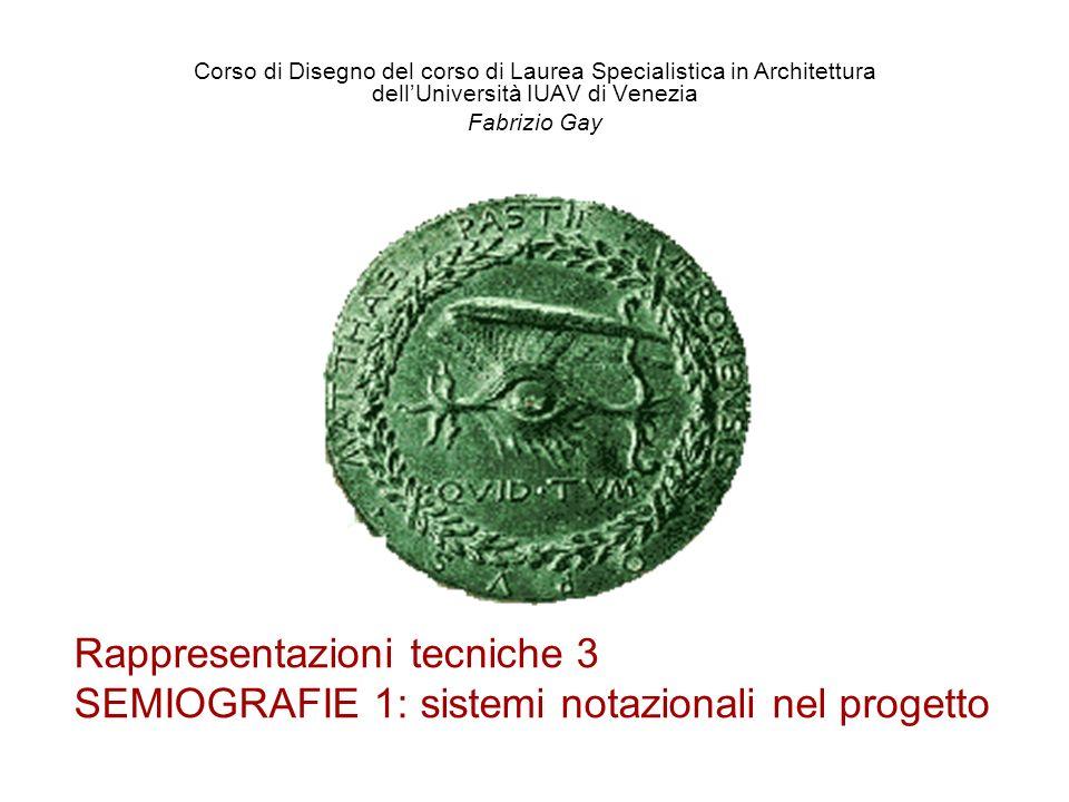 Rappresentazioni tecniche 3 SEMIOGRAFIE 1: sistemi notazionali nel progetto Corso di Disegno del corso di Laurea Specialistica in Architettura dellUni